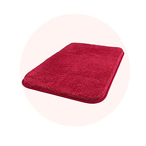 Carvapet Antiscivolo Tappetino Bagno Assorbente Acqua Tappeto Foccia per Il Bagno Morbido Peluche Microfibra Tappeto da Bagno(Rosso,40x60cm)