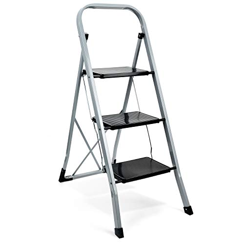 Delxo 3 Step Ladder Folding Step Stool Ladder with Handgrip Anti-Slip Sturdy and Wide Pedal 300lbs Multi-Use for Household and Office Portable Step Stool Steel 3 Step Stool Gray and Black Combo