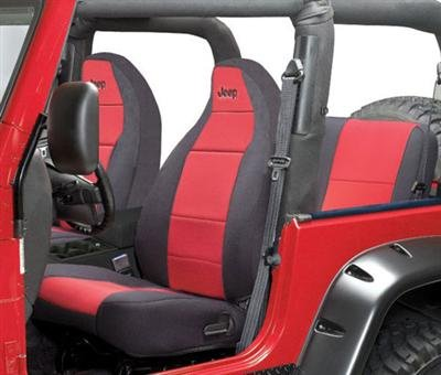 Coverking SPC119L Front 50/50 Bucket Custom Fit Seat Cover for Select Jeep Wrangler TJ Models - Neoprene (Red with Black Sides)