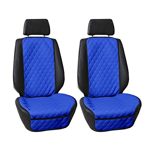 FH Group FH1018 Faux Leather Seat Protectors (Blue) Font Set with Gift - Universal Fit for Cars, Trucks & SUVs