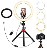 "Aluminum Remote Controlled LED Selfie 10""12""14"" 18""Ring Light 3m Wire,Saimly Portable Tripod Camera Ring Light and 4 Phone Stands, 3000k-6500k Dimmer for Photography/Makeup/Video (10.2inch-Desk2)"