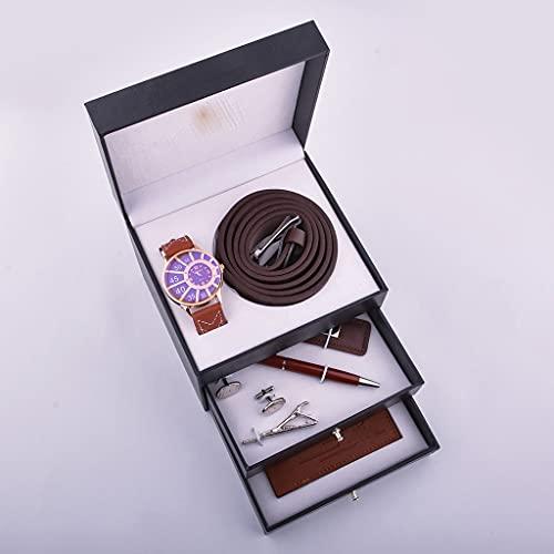 JJSPP Reloj de Negocios Juego de Regalo Regalo para Hombre Parcela de Padre Caja de Tres Capas Cinturón Monedero Llavero Firma Pluma (Color : Brown)