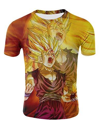 Camiseta Dragon Ball Niño Unisex 3D Impresión Hombres Mujer Camisetas y Camisas Deportivas Camisetas de Manga Corta T Shirt Dibujos Animados de Fans Streetwear Camisetas de Verano (TX-QLZ-0380, M)