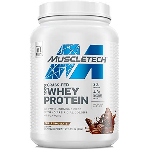 Grass Fed Whey Protein | MuscleTech Grass Fed Whey Protein Powder | Protein Powder for Women & Men | Growth Hormone Free, Non-GMO, Gluten Free | 20g Protein + 4.3g BCAA | Triple Chocolate, 1.8 lbs