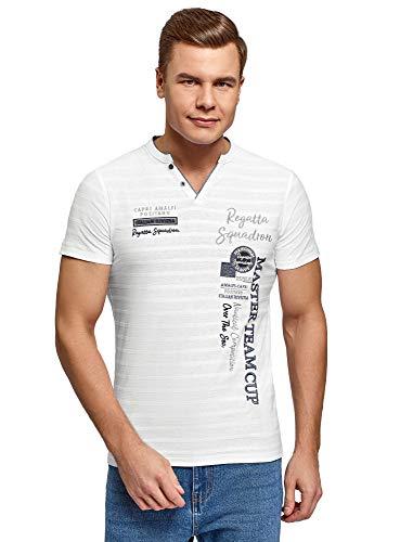 oodji Ultra Hombre Polo con Bordado y Cuello Pico Decorativo, Blanco, S