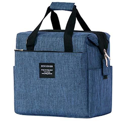 JEMESI Borsa Termica Pranzo, Borse Frigo Piccola Cibo Alimentazione con Grande capacità e Maniglia Durevole Lunch Box per Campeggio Lavoro Scuola Picnic 10L (Blu)