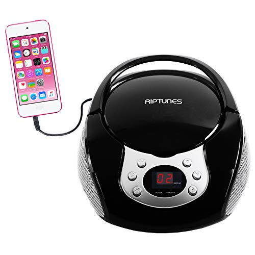 Riptunes Portable CD Player with AM FM Radio Potable radios Boom Box with Aux Line-in, Black