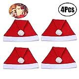 Reccisokz 4pcs Economy Santa Hats-Adult Size, Tradicional Gorro de Fiesta Rojo y Blanco, la Mejor opción para Decoraciones
