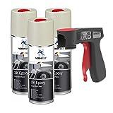 AUPROTEC 2K Grundierfüller Epoxy Lack Füller Grundierung Spray matt beige 3X 400ml + 1x Original Pistolengriff