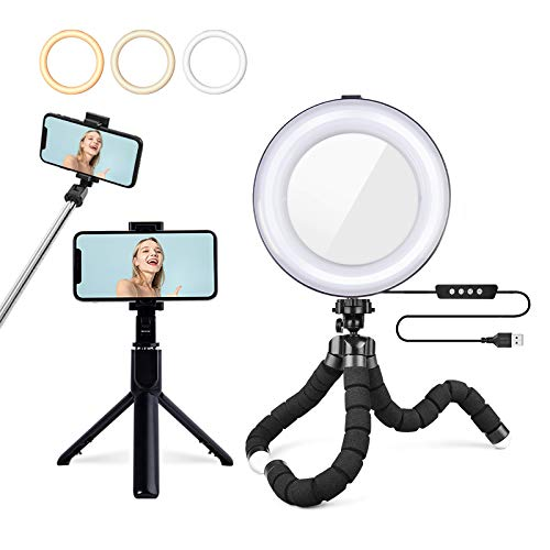 """Ring Light with Tripod Stand & Mirror,Cell Phone Tripod with Wireless Bluetooth Remote, 8"""" Desk LED Selfie Circle Light for Live Stream/Makeup/YouTube Video,Compatible for iPhone Android"""