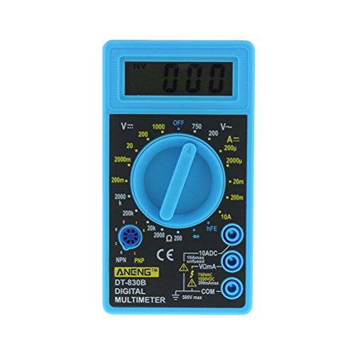 UEETEK Multimetro digitale LCD DT-830B voltmetro elettrico amperometro Ohm Tester AC DC 750 1000 V Amp Volt Ohm Tester Meter (blu)