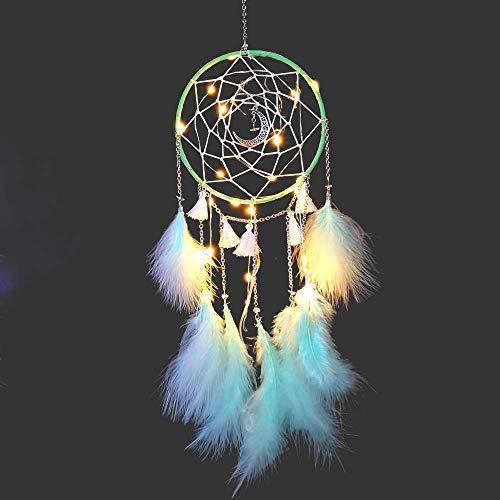 Amorlla Traumfänger mit LED Licht, Handgemachte Dreamcatcher mit Federn, Maiden Zimmer Schlafzimmer Romantische Dekoration, für Wandbehang Wohnkultur Ornamente Handwerk (Grün)