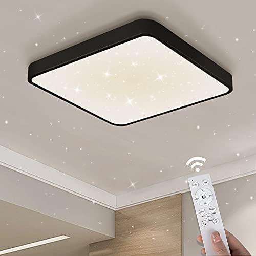 Lámpara de techo Regulable Anten DREAM | Plafon LED Cuadrada 1800LM 24W con mando a distancia 3temperaturas de color | Función de memoria Estrellado para salón dormitorio habitación niños cocina 33cm