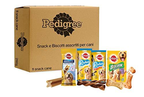 Pedigree Snack e Biscotti Cane, Confezione Assortita in Diverse Varietà (Cani Taglia Grande  25kg) - 9 Snack e 1kg di Biscotti, Totale 2190 g