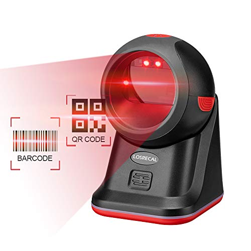 LOSRECAL Barcode Scanner 1D QR 2D Hands-Free Omnidirectional Desktop High Speed Laser Bar Code Reader Auto Sensor Scanner with Stand and USB Cable for Supermarket Retail Store Mall Grocery 3d barcode scanner