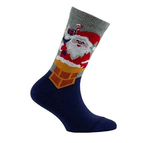 Kindy - Mi-chaussettes Père Noël MADE IN FRANCE - couleur - Marine gris - Pointure - 27-30