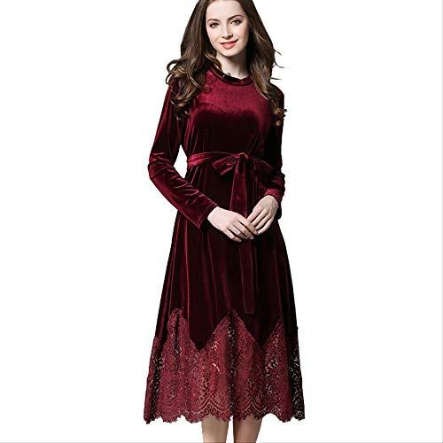 QUNLIANYI Ballkleid Lang Damen Tüll Herbst Kleid Womens Langarm Gürtel Spitze Patchwork Elegante Kleider XL Rot