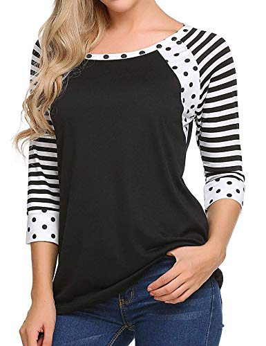 Zeagoo Womens Polka Dots Pullover Casual Striped Comfy Tees T-Shirt,1 black,XX-Large