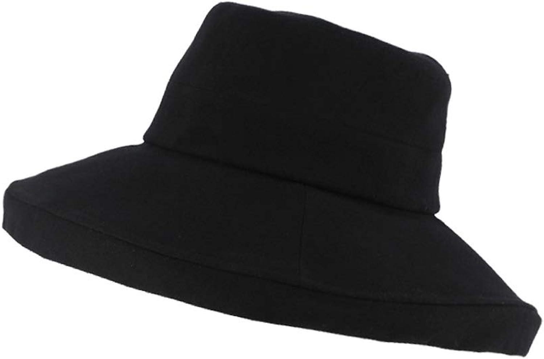 Fisherman Hat Female Foldable Elegant Big Visor Spring Summer AntiUV Sun Fashion Outdoor Travel Shade Cotton Comfortable Breathable Lightweight (color   Black)
