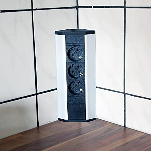 Toma de corriente para cocina y oficina - toma de corriente angular de aluminio y plástico de alta calidad ideal para la encimera, toma de corriente de mesa o debajo con elemento | Enchufe de 3 pines