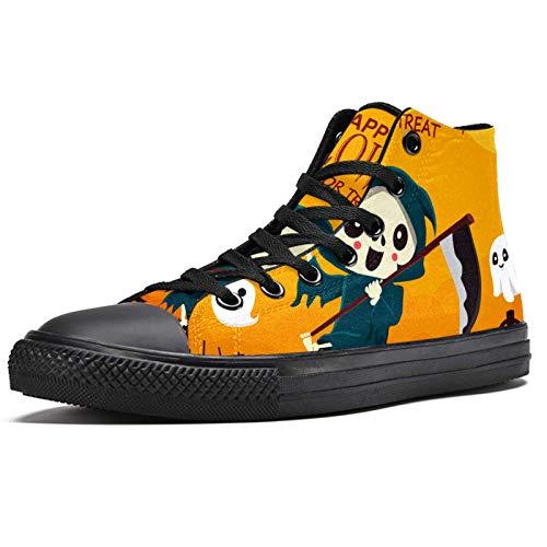 Anmarco Halloween Grim Reaper High Top Sneakers Moda Encaje Up Zapatos de lona Casual Escuela caminar zapatos para hombres adolescentes niños, color Multicolor, talla 36 1/3 EU