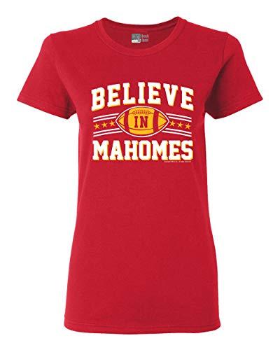 Ladies Believe in Mahomes Kansas City Football Fan Wear DT T-Shirt Tee (Medium, Red)