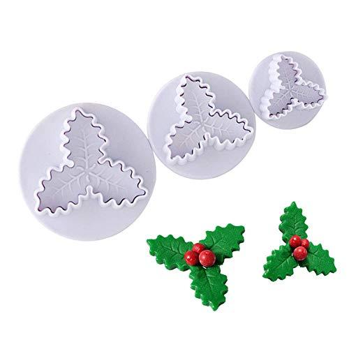 XHH Herramientas para Hornear Pasteles de Navidad Molde para Fondant de Hojas de Acebo Cortador de émbolo de Hojas de Acebo Decoración de Cupcakes para Fiestas de Navidad (Fiesta navideña)