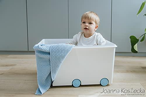 LAPSI® Spielzeugkiste, Aufbewahrungsbox mit 6 Rollen mit Deckel auf Rädern Weiß Hase - 3