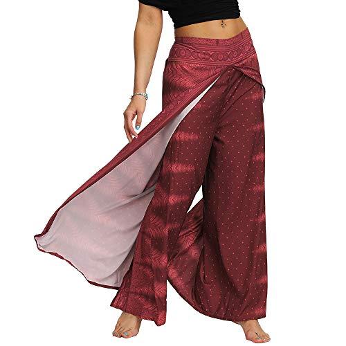 Nuofengkudu Mujer Hippie Largo Pantalones Dividir Pata Ancha Flores Estampados Sueltos Elegantes Comodos Thai Yoga Pants Verano Playa Vacaciones(Vino Tinto,S/M)