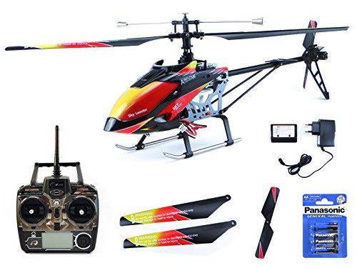 efaso Helikopter WLToys V913 – 2,4 GHz, 4-Kanal Single Blade Hubschrauber mit LCD Display an der Fernsteuerung, Alu-Chassis und hoher Windresistenz inkl. Batterien für Fernsteuerung