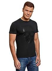 oodji Ultra Hombre Camiseta de Algodón con Estampado