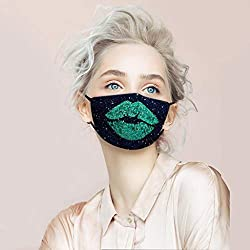 Sequin Protect Face Mask Cloth with Green Lips Rhinestone