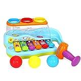 Jeu de cerveau Gowsch Jouet de musique Xylophone en plastique 8 tons avec 3 boules colorées et un marteau coloré