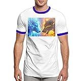 Charity Packer Fire Ice Wolf Tee-Shirts T-Shirt pour Hommes à la Mode T-Shirt Confortable à Manches Courtes