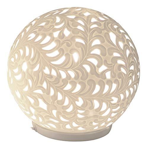 Formano Porzellan-Lampe Kugel Harmonie Romantik Tischleuchte Nachttischlampe Nachttischleuchte Stimmungslampe Weiss 24cm