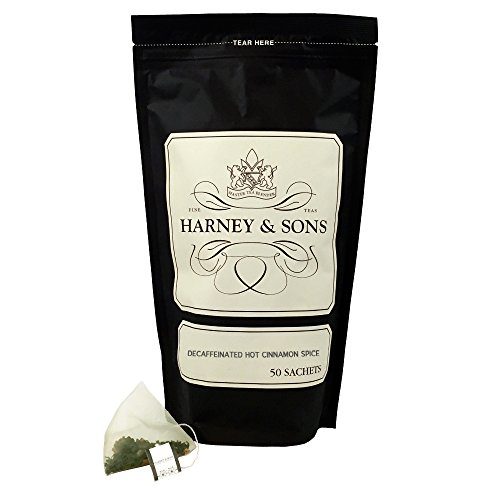 Harney & Sons Decaffeinated Hot Cinnamon - Ceylon Black Tea with Three Types of Cinnamon, Orange Peel and Sweet Cloves - 50 Count Sachet Bag