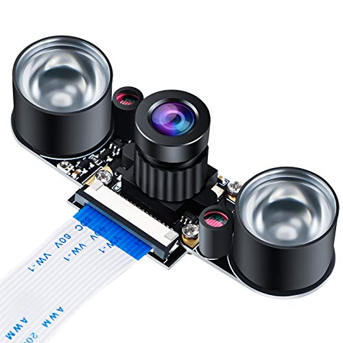 MakerHawk Raspberry Pi Camera Night Vision Camera Module 5MP OV5647 Webcam Adjustable Camera Video 1080p for Raspberry Pi Model 2B / 2B+ / 3B / 3B+ / 4B
