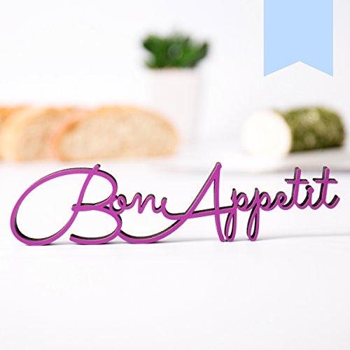 KLEINLAUT 3D-Schriftzug Bon Appetit in Größe: 25 x 6,1 cm - Dekobuchstaben - 32 Farben zur Wahl - Pastell Blau