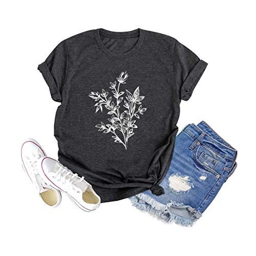 Women Botanical Plant Graphic Shirt Funny Wild Flower Tee Vintage Floral Clothing Short Sleeve Tops Dark Grey