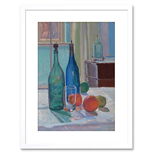 Painting Spencer Frederick Gore Blue Green Bottles Oranges Framed Art F97X12170