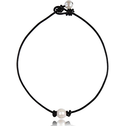 """Single Freshwater-Cultured Pearl Choker Necklace on Genuine Black Leather Cord for Women Handmade Choker Jewelry Gift (16"""" Black leather)"""