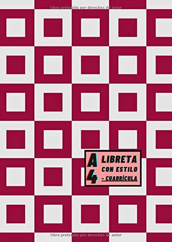 Libreta A4 Con Estilo - Cuadrícula: Color de portada Rojo Granate -...