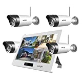 Wireless WiFi Security Camera System (4Pcs), UNIOJO 1080P with 10.1 inches LCD Touch Screen Monitor, 4 HD 2.0 Megapixel Night Vision IP66 Waterproof IP Security Surveillance Camera
