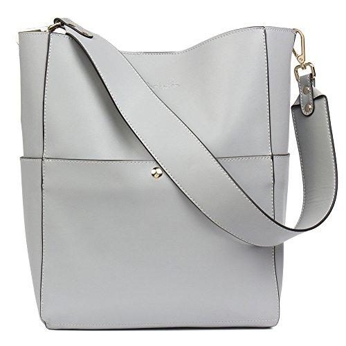 BOSTANTEN Women's Leather Designer Handbags Tote Purses Shoulder Bucket Bag Grey