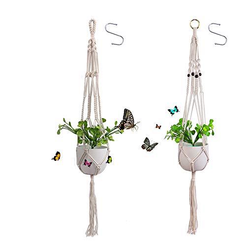 REYOK Blumenampel 2er Set Makramee handgeknüpft Blumenampel Pflanzen aufhänger Hängeampel Blumentopf Pflanzen Halter für Innen Außen Decken Balkone Terrasse Wanddekoration Boho Deko
