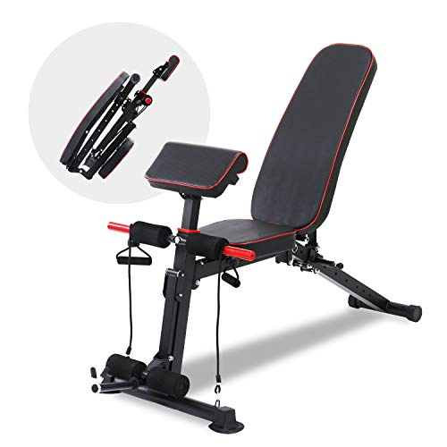 BAHOM Foldable Weight Bench with Adjustable Backrest and Priest Stool, Full Body Training Workout Sit Up Bench for Home Fitness Gym Exercise Sports Up to 500 Pounds