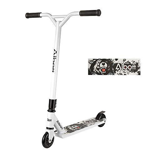 Albott Stunt Scooter Sport Pro Roller Kickscooter Weiß Design für Kinder Erwachsene und Anfänger ab 8 Jahre