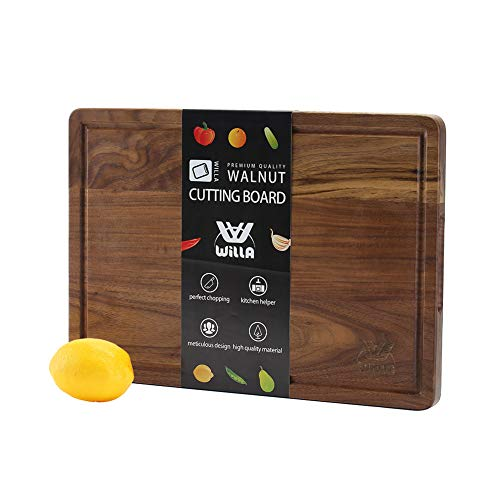 WILLA Wood Cutting Board-Walnut Chopping Board with Juice&Handle 16 ×11 inch Kitchen&Dining