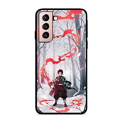 KKEY Black Matte Rubber Soft Thin Fundas Anti-Shock Coque Case for Samsung Galaxy S21-Anime Demon-Slayer Tanjirou 1