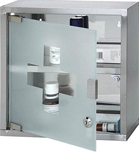 Medizinschrank zur Wandmontage, abschließbar, Edelstahl, mit 2 Einlegeböden und Milchglas-Tür, ca. 30 x 12,5 x 30 cm